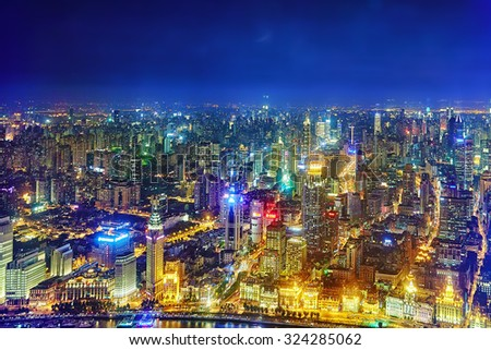 SHANGHAI, CHINA - MAY 23, 2015:Beautiful view of  Shanghai -  Bund or Waitan waterfront at night. Shanghai waterfront Bund has historical buildings and it is one of the most famous tourist place - stock photo