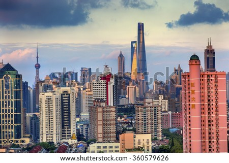 SHANGHAI, CHINA = MAY 16, 2015 Puxi Pudong Buildings World Financial Center Jinmao Tower Modern Skyscrapers Shanghai China  - stock photo