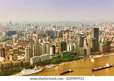 SHANGHAI, CHINA - MAY 23, 2015: View of  Shanghai -  Bund or Waitan waterfront. Shanghai waterfront Bund has historical buildings and it is one of the most famous tourist place - stock photo