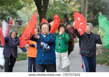 SHANGHAI, CHINA - NOVEMBER 28: Group of Chinese seniors practice  early in the morning Tai Chi with fans on November 28, 2010 in Shanghai. - stock photo