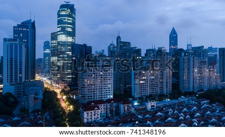 SHANGHAI, CHINA - Oct 1: Aerial View of Yanan Rd, Jingan district, Shanghai in dawn, on 1 Oct,2017 in Jingan district, Shanghai, China.