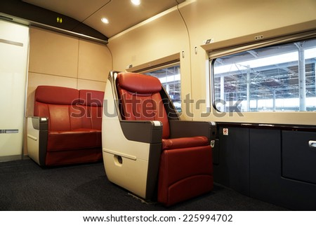 Shanghai CHINA - October16: Given the comfortable seats of the China high speed train on October 16, 2014 in Shanghai,China.China has the world's longest high speed rail network (over 9,300 km). - stock photo