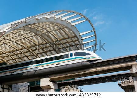 Shanghai, China - October 15, 2015: The Shanghai Maglev Train or Shanghai Transrapid is  is a magnetic levitation train, or maglev line that operates in Shanghai, China. - stock photo