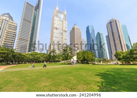 Shanghai, China - on October 2, 2014: lujiazui central green space park scenery, lujiazui central green space is largest open green space in Shanghai - stock photo