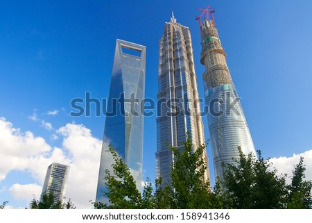 SHANGHAI, CHINA - SEP 17: Shanghai World Financial Center pudong shanghai china on Sep 17, 2013 in Shanghai, Designed by Kohn Pedersen Fox, this 101 storey building completed in 2008 is 494,3m high