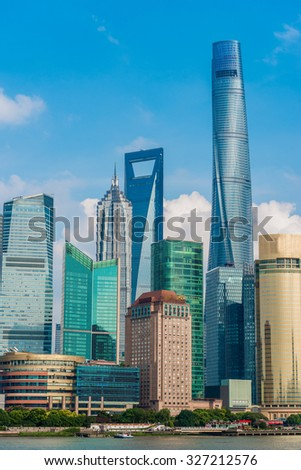SHANGHAI, CHINA - September 24, 2015: Shanghai Tower, World Financial Center and Jin Mao Tower in Shanghai, China. These are the tallest buildings in Shanghai