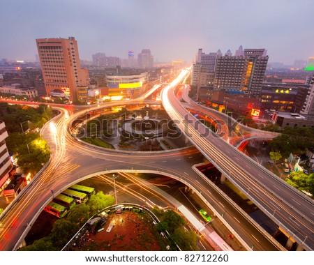 Shanghai, China, urban overpass, transportation hub - stock photo