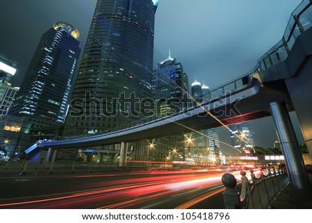 Shanghai city landmark background night view of traffic - stock photo