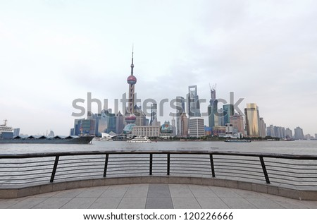 Shanghai city skyline of Pudong Financial District from the viewing platform on the Bund. - stock photo