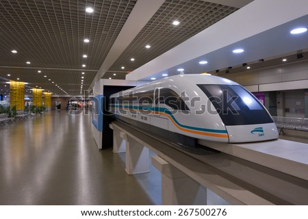SHANGHAI, CN - MAR 15 2015:Model of Shanghai Maglev Train in the Train Station. The line is the first commercially operated high-speed magnetic levitation line in the world - stock photo