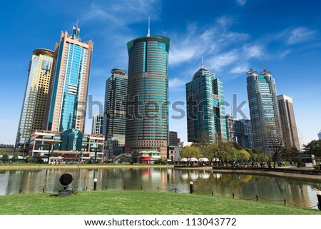 shanghai finance and trade zone ,city park and modern buildings