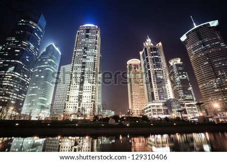 shanghai financial center skyline at night,China
