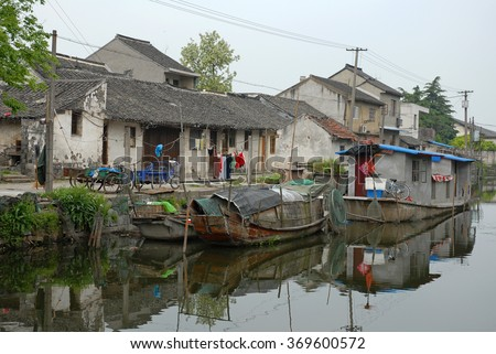 Shanghai, floating houses on the canal at the Xitang ancient town, - stock photo