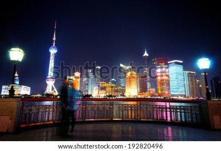 Shanghai light dispaly tunnel. Long exposure. Tripod used. - stock photo