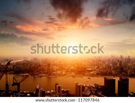 shanghai lujiazui finance and trade zone skyline - stock photo