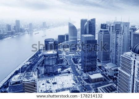 shanghai lujiazui financial center aside the huangpu river. - stock photo