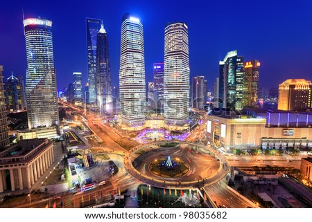 shanghai lujiazui financial center in the evening,view from the oriental pearl tv tower - stock photo