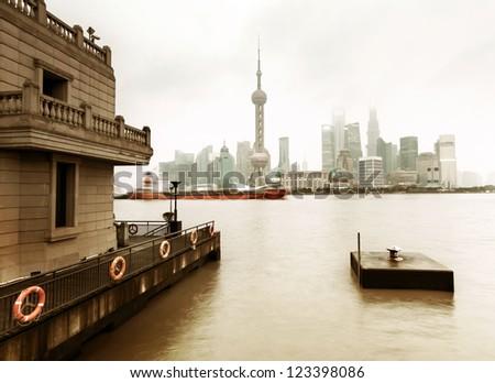 Shanghai Lujiazui financial district panorama - stock photo