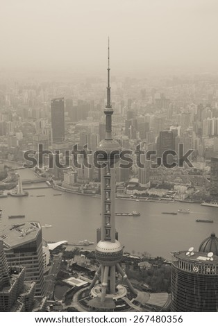 Shanghai - Mar. 26:Bird's eye view of Shanghai Huangpu river and Lujiazui on Mar 26, 2015 in Shanghai, CN.