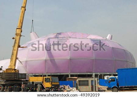 SHANGHAI - MARCH 23: Preparation for Universal World Exposition on March 23, 2010 in Shanghai, China. - stock photo