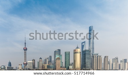 Shanghai -2016 March 12th: from the Bund, Pudong New Area, Lujiazui, the construction group, China's first, the world's second tallest Shanghai Center Tower has been completed, the official opening.