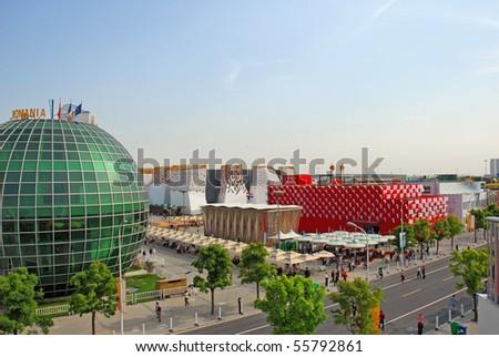 SHANGHAI - MAY 12:  EXPO Romania and Croatia  Pavilions.  May 12, 2010 in Shanghai China. - stock photo