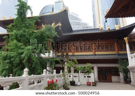 SHANGHAI - 2 MAY: Jing'an Temple in Shanghai, China on 2 May 2016