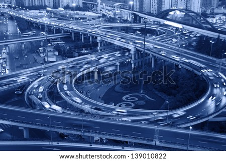 Shanghai night, viaduct road traffic - stock photo
