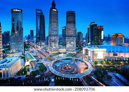 shanghai night view from the oriental pearl tower  - stock photo
