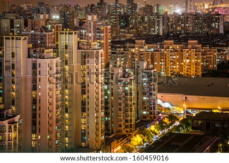 shanghai night with lots of apartments lamps on - stock photo