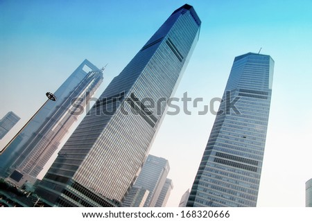 SHANGHAI - NOV. 15.2013  view of skyscrapers Pudong ,business district of Shanghai - stock photo