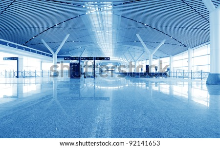 Shanghai Pudong Airport interior, modern building interior.