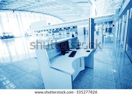 Shanghai pudong airport terminal, the inside of the service area. The hall