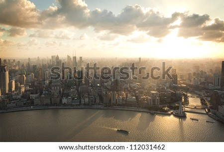 Shanghai Pudong bird's eye view of the city - stock photo