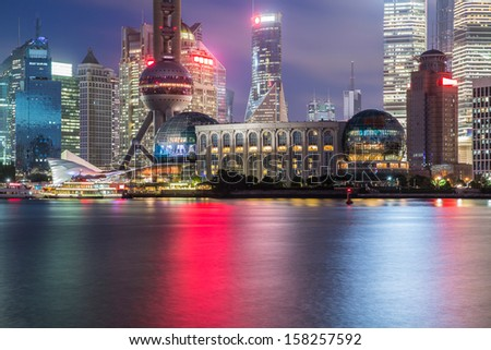 shanghai Pudong cityscape viewed from the bund, the beautiful city scenery