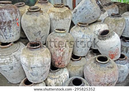 Shanghai, Qibao, Chinese wine vases - stock photo