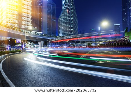 Shanghai road, light trails - stock photo
