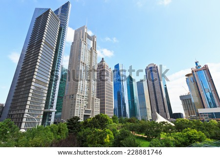 Shanghai's financial district skyscrapers scenery - stock photo
