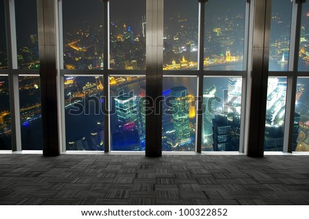 Shanghai scenery looking out the window - stock photo