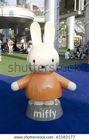 SHANGHAI - SEPT 1: WORLD EXPO Well known Cartoon character Miffy statue in Holland Pavilion for visitors. Sept 1, 2010 in Shanghai China - stock photo