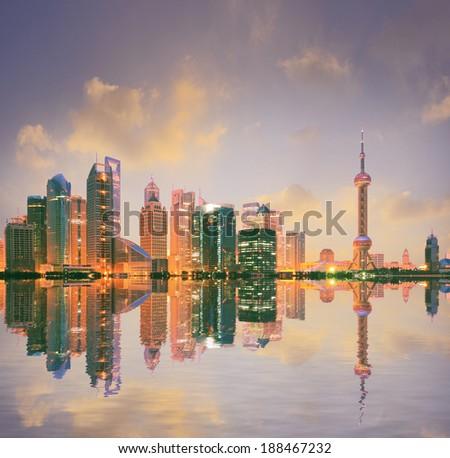 Shanghai skyline at landscape - stock photo