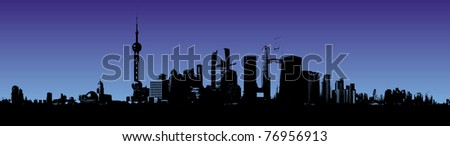 Shanghai skyline at night illustration - stock photo