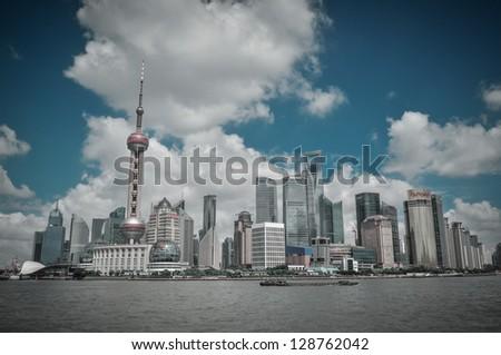Shanghai skyline, China 2011 taken from the bund - stock photo