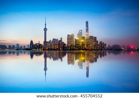 Shanghai skyline in the morning with reflection, Shanghai China