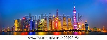Shanghai skyline panorama at night, China - stock photo
