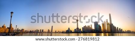 Shanghai skyline panorama at sunrise with The Bund and Pudong, China - stock photo