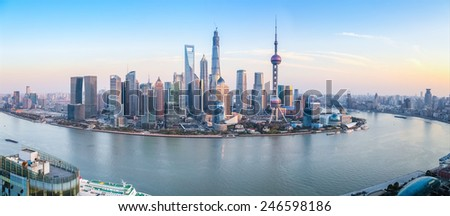 shanghai skyline panoramic view at dusk ,China - stock photo