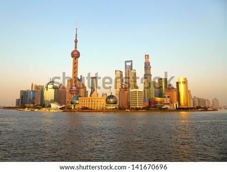 Shanghai skyline. View from the bund - stock photo
