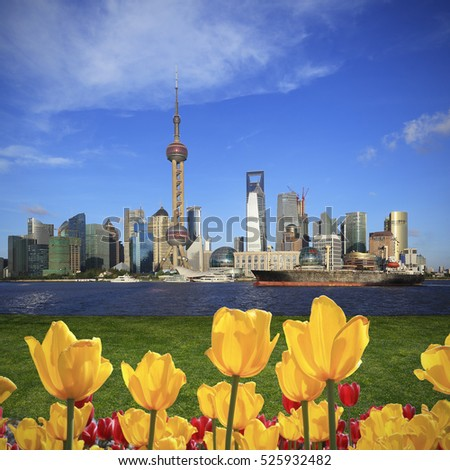 Shanghai skyline with yellow tulips flowers of the Front of city landmark landscape architecture