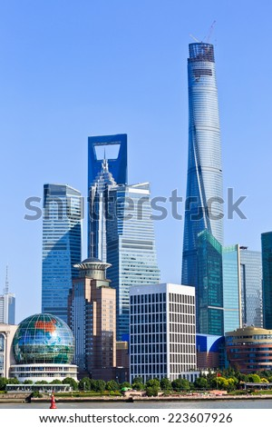 Shanghai urban building - stock photo